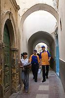 Tripoli, Libya - Medina Passageway, Girl Talking to Men