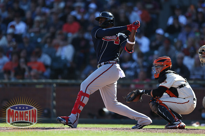 SAN FRANCISCO, CA - SEPTEMBER 19:  Jorge Soler #12 of the Atlanta Braves bats against the San Francisco Giants during the game at Oracle Park on Sunday, September 19, 2021 in San Francisco, California. (Photo by Brad Mangin)