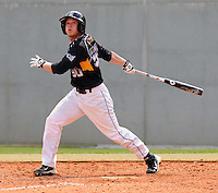 Infielder Noah Holmes (30) of the Appalachian State Mountaineers in a game against the Wofford College Terriers on April 28, 2012, at Russell C. King Field in Spartanburg, South Carolina. (Tom Priddy/Four Seam Images)