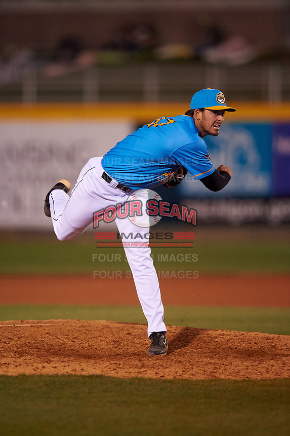Lansing Lugnuts relief pitcher Jackson Rees (27) during a Midwest League game against the Beloit Snappers at Cooley Law School Stadium on May 4, 2019 in Lansing, Michigan. The Lugnuts wore their Copa de la Diversión jerseys, becoming the Lansing Locos for the evening. Beloit defeated Lansing 2-1. (Zachary Lucy/Four Seam Images)