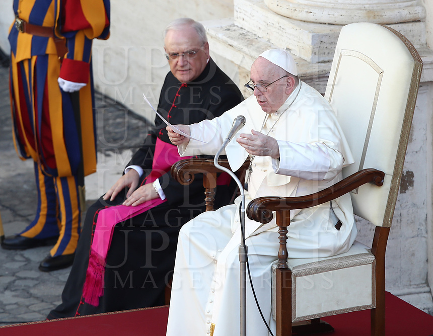 Pope Francis (R), flanked by Monsignor Leonardo Sapienza, speaks during a limited public audience at the San Damaso courtyard in The Vatican on September 9, 2020 during the COVID-19 infection, caused by the novel coronavirus.<br /> UPDATE IMAGES PRESS/Isabella Bonotto<br /> <br /> STRICTLY ONLY FOR EDITORIAL USE