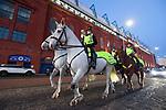 18.3.2021 Rangers v Slavia Prague: Mounted police outside Ibrox