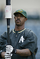 Terrence Long of the Oakland Athletics during a 2003 season MLB game at Angel Stadium in Anaheim, California. (Larry Goren/Four Seam Images)