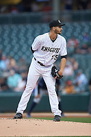 Charlotte Knights starting pitcher Dylan Cease (25) looks to his catcher for the sign against the Toledo Mud Hens at BB&T BallPark on April 25, 2019 in Charlotte, North Carolina. The Mud Hens defeated the Knights 11-7. (Brian Westerholt/Four Seam Images)