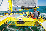 """Acapella (the sister ship of Mike Birch famous Olympus) built by Walter Green in 1980 and skippered by Charlie Capelle, preparing to take part in  """"La Route du Rhum"""" 2018, La Trinite-sur-Mer, Brittany, France."""