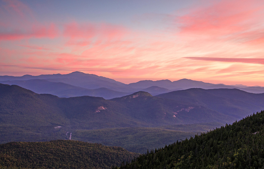 Dawn unfolds over Mt Washington and the Wildcats on a midsummer morning.