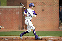 Conner Dunbar (24) of the High Point Panthers follows through on his swing against the Campbell Camels at Williard Stadium on March 16, 2019 in  Winston-Salem, North Carolina. The Camels defeated the Panthers 13-8. (Brian Westerholt/Four Seam Images)