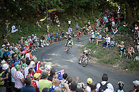 race leaders coming down the  Grand Colombier (HC/1501m/12.8km/6.8%): Jarlinson Pantano (COL/IAM), Rafal Majka (POL/Tinkoff), Julian Alaphilippe (FRA/Etixx-QuickStep) & Ilnur Zakarin (RUS/Katusha)<br /> <br /> stage 15: Bourg-en-Bresse to Culoz (160km)<br /> 103rd Tour de France 2016