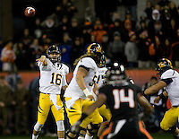 California quarterback Allan Bridgford throws the ball during the game against Oregon State Beavers at Reser Stadium in Corvallis, Oregon on November 17th, 2012.  Oregon State defeated California, 62-14.