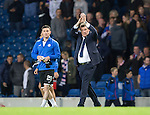 Rangers v St Johnstone...22.09.15  Scottish League Cup Round 3, Ibrox Stadium<br /> Tommy Wright applauds the fans at full time<br /> Picture by Graeme Hart.<br /> Copyright Perthshire Picture Agency<br /> Tel: 01738 623350  Mobile: 07990 594431