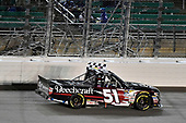 NASCAR Camping World Truck Series<br /> Toyota Tundra 250<br /> Kansas Speedway, Kansas City, KS USA<br /> Friday 12 May 2017<br /> Kyle Busch, Cessna Toyota Tundra celebrates his win with a burnout<br /> World Copyright: Nigel Kinrade<br /> LAT Images<br /> ref: Digital Image 17KAN1nk07799