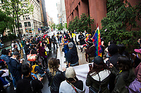 NEW YORK, NEW YORK - MAY 5: Colombians gather outside the New York university as Former president Alvaro Uribe offers a virtual talk at the University of New York in Manhattan New York on May 5, 2021. New York. Violent clashes between protesters and riot police in Colombia continue after President Iván Duque ordered Congress to withdraw his tax reform law on Sunday. The international community reported that at least 19 people died, there are more than 846 injured and there are also missing people. (Photo by Pablo Monsalve / VIEWpress via Getty Images)