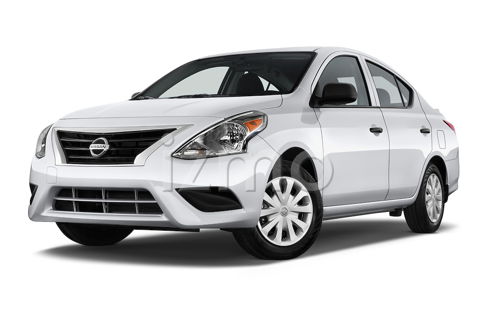 Stock pictures of low aggressive front three quarter view of a 2015 Nissan Versa 1.6 SV CVT 4 Door Sedan Low Aggressive
