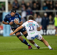 3rd October 2021; AJ Bell stadium, Eccles, Greater Manchester, England: Gallagher Premiership Rugby, Sale v Exeter ; JP du Preez of Sale Sharks is tackled by Tom Hendrickson of Exeter Chiefs
