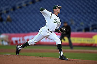 USF Bulls pitcher Casey Mulholland (47) delivers a pitch during a game against the Louisville Cardinals on February 14, 2015 at Bright House Field in Clearwater, Florida.  Louisville defeated USF 7-3.  (Mike Janes/Four Seam Images)