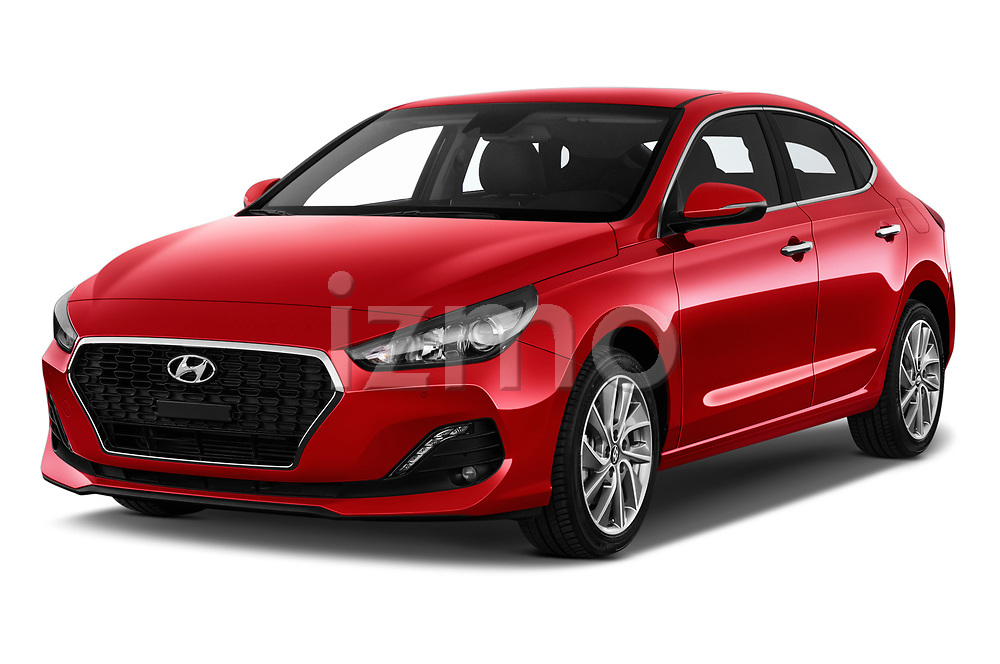 2018 Hyundai i30 Fastback Feel 5 Door Hatchback angular front stock photos of front three quarter view