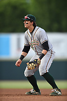 Greensboro Grasshoppers First Baseman Mason Martin (35) in action during a game with the Hickory Crawdads at L.P. Frans Stadium on May 27, 2019 in Hickory, North Carolina.  The Grasshoppers defeated the Crawdads 8-2. (Tracy Proffitt/Four Seam Images)