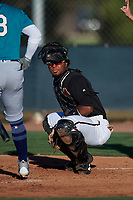 AZL D-backs catcher Sandy Martinez (34) during an Arizona League game against the AZL Mariners on July 3, 2019 at Salt River Fields at Talking Stick in Scottsdale, Arizona. The AZL D-backs defeated the AZL Mariners 3-1. (Zachary Lucy/Four Seam Images)