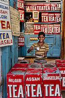 Boy in teashop in Varanasi, Uttar Pradesh, India.