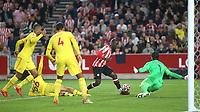 Yoane Wissa scores Brentford's third goal during Brentford vs Liverpool, Premier League Football at the Brentford Community Stadium on 25th September 2021