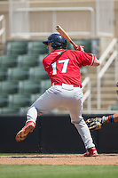 Austin Bossart (17) of the Lakewood BlueClaws at bat against the Kannapolis Intimidators at Kannapolis Intimidators Stadium on May 8, 2016 in Kannapolis, North Carolina.  The Intimidators defeated the BlueClaws 3-2.  (Brian Westerholt/Four Seam Images)