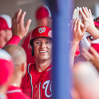 5 March 2016: Washington Nationals outfielder Matt den Dekker is all smiles as he returns to the dugout with high-fives, scoring in the 5th inning of a Spring Training pre-season game against the Detroit Tigers at Space Coast Stadium in Viera, Florida. The Nationals defeated the Tigers 8-4 in Grapefruit League play. Mandatory Credit: Ed Wolfstein Photo *** RAW (NEF) Image File Available ***