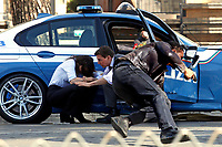 Actor Tom Cruise and actress Hayley Atwell acting during a shooting on the set of the film Mission Impossible 7 at Imperial Fora in Rome. <br /> Rome (Italy), October 13th 2020<br /> Photo Samantha Zucchi Insidefoto