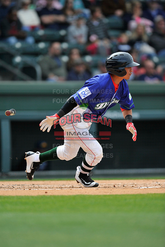 Shortstop Jeremy Rivera (35) of the Greenville Drive runs toward first base in a game against the Asheville Tourists on Sunday, April 10, 2016, at Fluor Field at the West End in Greenville, South Carolina. Greenville won 7-4. (Tom Priddy/Four Seam Images)