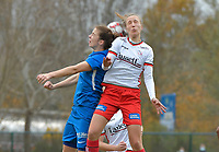 Zulte Waregem's defender Ella Vierendeels (R) and Genk's forward Hanne Merkelbach (L)  pictured during a female soccer game between SV Zulte - Waregem and KRC Genk on the 8 th matchday of the 2020 - 2021 season of Belgian Scooore Women s SuperLeague , saturday 21 th of November 2020  in Zulte , Belgium . PHOTO SPORTPIX.BE | SPP | DIRK VUYLSTEKE