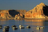 Houseboats Wahweap Marina. Lake Powell, Glen Canyon National Recreation Area.  Arizona, Utah.