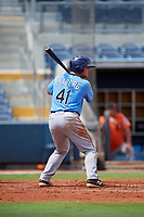 Tampa Bay Rays catcher Erik Ostberg (41) at bat during a Florida Instructional League game against the Baltimore Orioles on October 1, 2018 at the Charlotte Sports Park in Port Charlotte, Florida.  (Mike Janes/Four Seam Images)