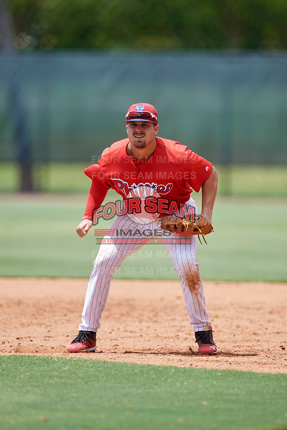 GCL Phillies East first baseman Jack Zoellner (27) during a game against the GCL Blue Jays on August 10, 2018 at Carpenter Complex in Clearwater, Florida.  GCL Blue Jays defeated GCL Phillies East 8-3.  (Mike Janes/Four Seam Images)