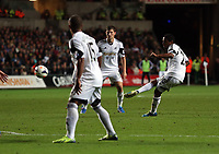 Pictured: Jonathan de Guzman takes a free kick (R)<br /> Monday 16 September 2013<br /> Re: Barclay's Premier League, Swansea City FC v Liverpool at the Liberty Stadium, south Wales.