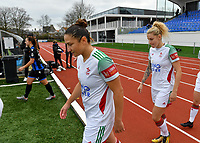 OHL's Sara Yuceil and OHL's Tine Schryvers pictured during a female soccer game between Club Brugge Dames YLA and Oud Heverlee Leuven on the 8 th matchday of the 2020 - 2021 season of Belgian Scooore Womens Super League , saturday 21 th November 2020  in Knokke , Belgium . PHOTO SPORTPIX.BE | SPP | DAVID CATRY