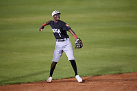 Chattanooga Lookouts shortstop Nick Gordon (1) throws to first base during a game against the Mobile BayBears on May 5, 2018 at Hank Aaron Stadium in Mobile, Alabama.  Chattanooga defeated Mobile 11-5.  (Mike Janes/Four Seam Images)