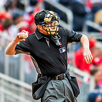 3 April 2017: MLB Umpire Jerry Meals works home plate during a game between the Washington Nationals and the Miami Marlins on Opening Day at Nationals Park in Washington, DC. The Nationals defeated the Marlins 4-2 to open the 2017 MLB Season. Mandatory Credit: Ed Wolfstein Photo *** RAW (NEF) Image File Available ***