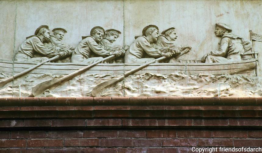 Washington D.C. : Pension Building. Frieze of six Civil War Military units repeated around the building. Designer Caspar Buberl. Photo '91.
