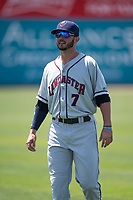 Lancaster JetHawks center fielder Forrest Wall (7) warms up before a California League game against the San Jose Giants at San Jose Municipal Stadium on May 13, 2018 in San Jose, California. San Jose defeated Lancaster 3-0. (Zachary Lucy/Four Seam Images)