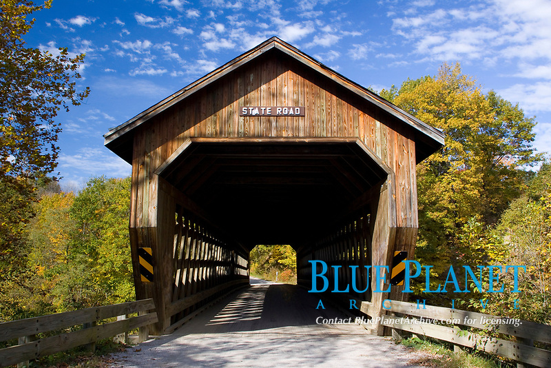 State Road Covered Bridge. 152 ft in length. Erected in 1983 over the Conneaut Creek in northeastern Ohio.