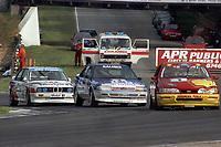 Round 10 of the 1991 British Touring Car Championship. #1 Robb Gravett (GBR). Trakstar Motorsport. Ford Sierra Sapphire. #3 Andy Rouse (GBR). Kaliber ICS Team Toyota. Toyota Carina. #44 Steve Soper (GB). BMW Team Finance. BMW M3.