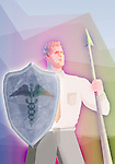 Illustrative image of man holding spear and shield with caduceus representing healthcare insurance
