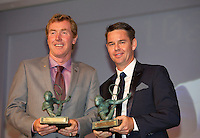 France, Paris, 03.06.2014. Tennis, French Open, Roland Garros, ITF Champions diner, Todd Woodbridge and Mark Woodforde (L) receive the Philippe Chatrier Award <br /> Photo:Tennisimages/Henk Koster