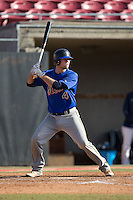 Tyler Romanik (4) of Blythewood High School in Bythewood, South Carolina playing for the New York Mets scout team at the South Atlantic Border Battle at Doak Field on November 2, 2014.  (Brian Westerholt/Four Seam Images)