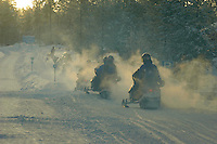 Fumes from snowmobiles, Yllas, Lapland, Finland...Copyright John Eveson 01995 61280.j.r.eveson@btinternet.com