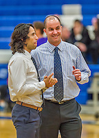 22 November 2015: Yeshiva University Maccabee Basketball Head Coach Elliot Steinmetz (left) chats with Assistant Coach Yogev Berdugo prior to a game against the Hunter College Hawks at the Max Stern Athletic Center  in New York, NY. The Maccabees defeated the Hawks 81-71 in non-conference play, for their second win of the season. Mandatory Credit: Ed Wolfstein Photo *** RAW (NEF) Image File Available ***