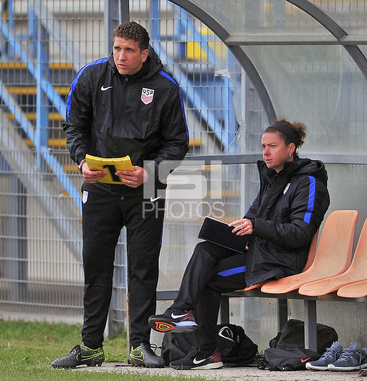 Monfalcone, Italy, April 26, 2016.<br /> Usa's head coach Taliaferro (R) and his assistant coach during USA v Iran football match at Gradisca Tournament of Nations (women's tournament). Monfalcone's stadium.<br /> © ph Simone Ferraro / Isiphotos