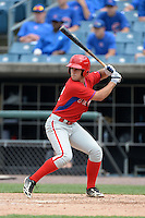 Jonathan Martin (2) of Felix-Leclerc High School in L'assomption, Quebec Canada playing for the Philadelphia Phillies scout team during the East Coast Pro Showcase on July 30, 2014 at NBT Bank Stadium in Syracuse, New York.  (Mike Janes/Four Seam Images)
