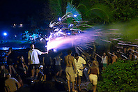 people enjoying fireworks on Fourth of July - Independence Day, Kailua Bay, Kailua Kona, Hawaii, Pacific Ocean No MR