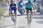 Jakob Fuglsang (DEN) Astana Pro Team and Julian Alaphilippe (FRA) Deceuninck-Quick Step battle it out on sector 11 Le Tolfe of Strade Bianche 2019 running 14km from Siena to Siena, held over the white gravel roads of Tuscany, Italy. 9th March 2019.<br /> Picture: Eoin Clarke   Cyclefile<br /> <br /> <br /> All photos usage must carry mandatory copyright credit (© Cyclefile   Eoin Clarke)