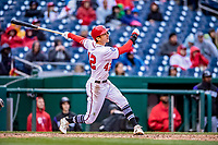 15 April 2018: Washington Nationals shortstop Trea Turner at bat in the 9th inning against the Colorado Rockies at Nationals Park in Washington, DC. All MLB players wore Number 42 to commemorate the life of Jackie Robinson and to celebrate Black Heritage Day in pro baseball. The Rockies edged out the Nationals 6-5 to take the final game of their 4-game series. Mandatory Credit: Ed Wolfstein Photo *** RAW (NEF) Image File Available ***